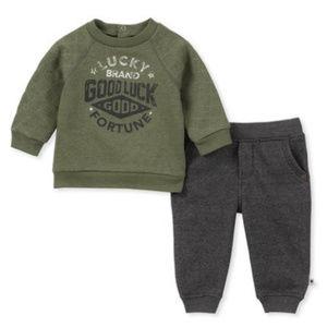 LUCKY Green Long Sleeve Fleece Top & Grey Joggers